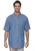 Harriton M550S Adult Short Sleeve Denim Shirt