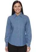 Harriton M550W Women's Long Sleeve Denim Shirt