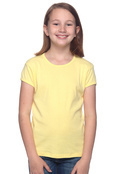 Bella B9001 Girl's Cotton Short Sleeve Baby Rib Crew Neck T-Shirt