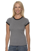 Bella+Canvas 1007 Women's Cotton1x1 Baby Rib Ringer T-Shirt