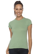 Bella+Canvas 1001 Women's Cotton 1x1 Rib Cap Sleeve  T-Shirt