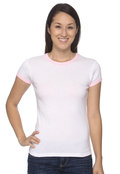 Bella 1007 Women's Cotton1x1 Baby Rib Ringer T-Shirt