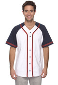 Champion T1394 Adult Contrasting Raglan Sleeve Button-Front Baseball Jersey