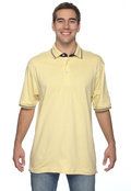 Harriton M140 Adult Tipped Jersey Polo