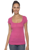 Bella B8703 Women's Cotton/Spandex Sheer Rib Scoop Neck T-Shirt