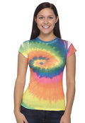 Tie-Dye CD1455 Women's 100% Spun Polyester with Moisture Management T-Shirt