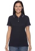 Devon & Jones D113W Women's Pima Pique Short-Sleeve Tipped Polo